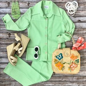 Groovy Vintage fab 60s 70s green polyester suit!